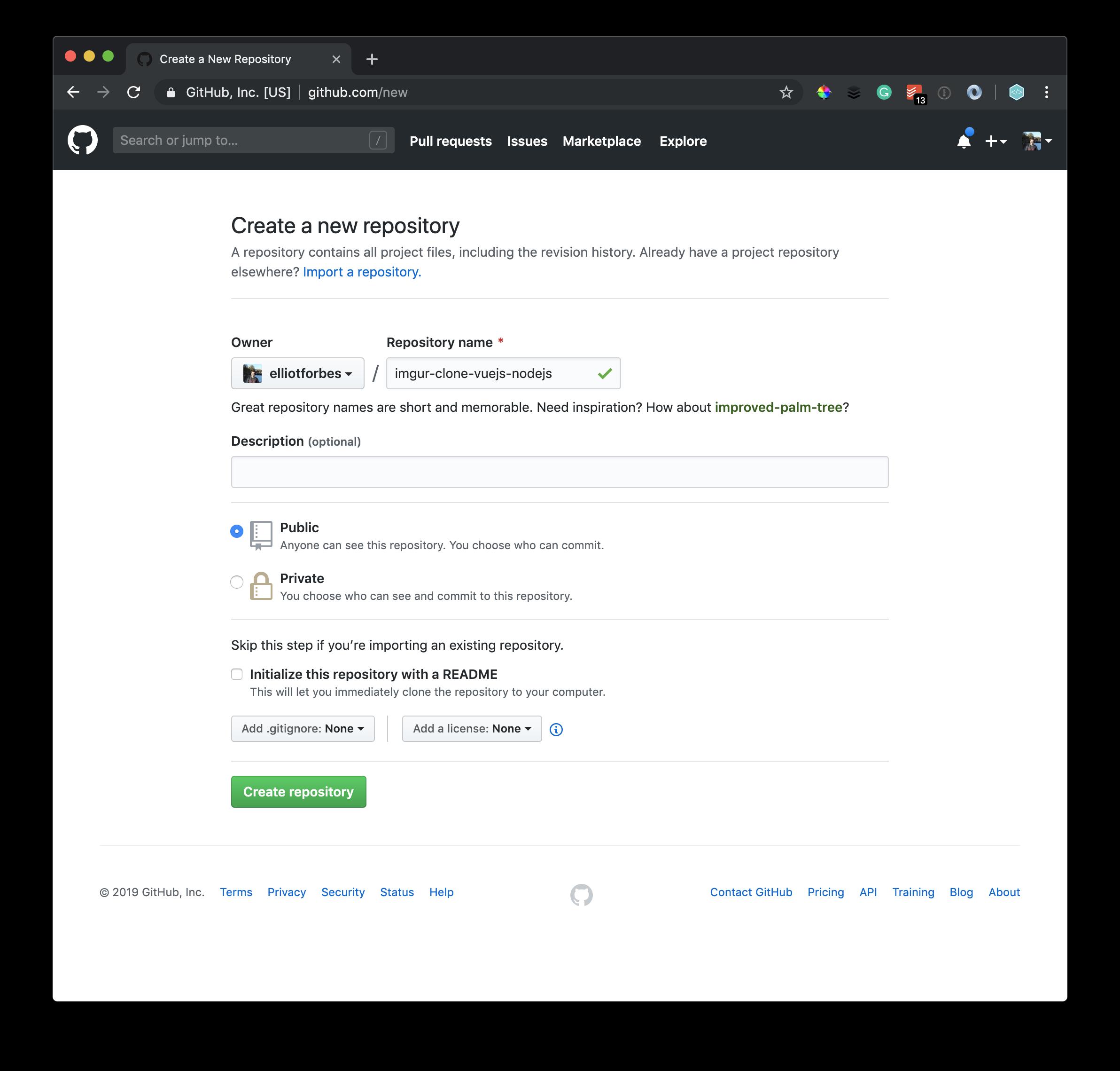 Creating new Github Repo
